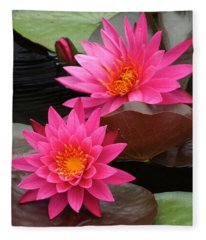 Hot Pink Twin Tropical Waterlily Charm Fleece Blanket