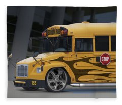 Hot Rod School Bus Fleece Blanket
