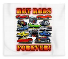 Hot Rods Forever Fleece Blanket