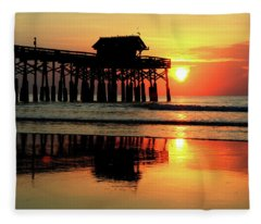 Hot Sunrise Over Cocoa Beach Pier  Fleece Blanket