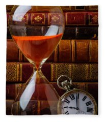 Hourglass And Pocket Watch Fleece Blanket