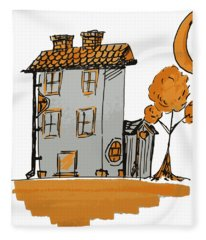 House And Moon Fleece Blanket