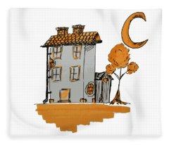 House And Moon Fleece Blanket