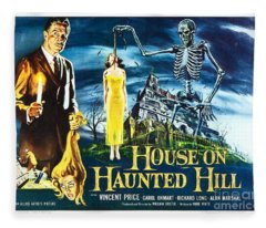 House On Haunted Hill Poster Classic Horror Movie  Fleece Blanket