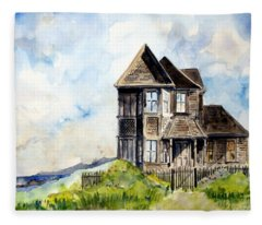 House On Little Lake Street Mendocino Fleece Blanket