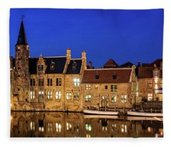Houses By A Canal - Bruges, Belgium Fleece Blanket