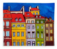 Houses In The Oldtown Of Warsaw Fleece Blanket