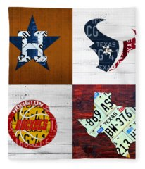 Houston Sports Fan Recycled Vintage Texas License Plate Art Astros Texans Rockets And State Map Fleece Blanket