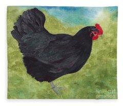 How Do You Like My Little Black Dress? Iridescent Black Hen Fleece Blanket
