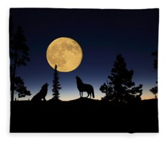 Howling At The Moon Fleece Blanket