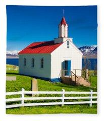 Fleece Blanket featuring the photograph Hrafnseyri Church In Iceland by Matthias Hauser