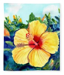 Hula Girl Hibiscus Fleece Blanket