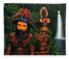 Huli Men In The Jungle Of Papua New Guinea Fleece Blanket