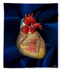 Human Heart Over Blue Velvet Fleece Blanket