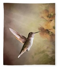 Humming Bird In Light Fleece Blanket