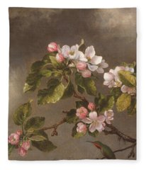 Hummingbird And Apple Blossoms Fleece Blanket
