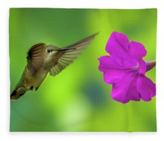 Hummingbird And Flower Fleece Blanket