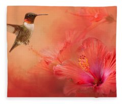 Hummingbird And Peach Hibiscus Fleece Blanket