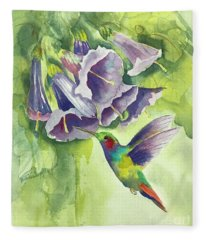 Hummingbird And Trumpets Fleece Blanket