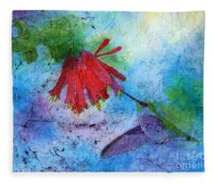 Hummingbird Batik Watercolor Fleece Blanket
