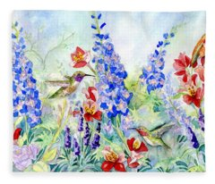 Hummingbird Garden In Spring Fleece Blanket