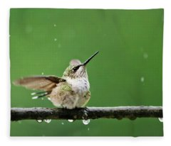 Hummingbird In The Rain Fleece Blanket