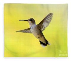 Hummingbird In Yellow Fleece Blanket
