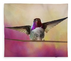 Hummingbird On A Wire Fleece Blanket