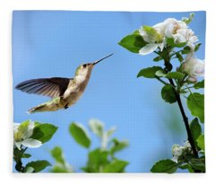 Hummingbird Springtime Fleece Blanket