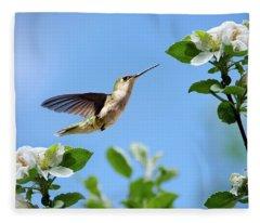Hummingbird Springtime Fleece Blanket