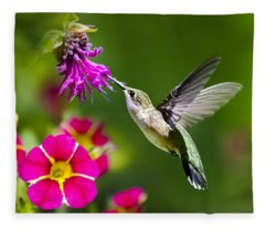 Hummingbird With Flower Fleece Blanket