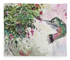 Hummingbird With Fuchsias Fleece Blanket