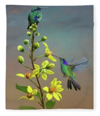 Hummingbirds And Thryallis Fleece Blanket