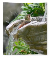 Hummingbirds Do Take Baths Fleece Blanket