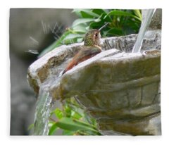 Hummingbirds Do Take Baths Fleece Blanket