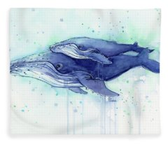 Humpback Whale Mom And Baby Watercolor Fleece Blanket