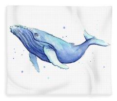 Humpback Whale Watercolor Fleece Blanket