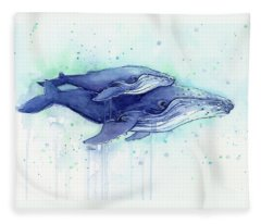 Humpback Whales Mom And Baby Watercolor Painting - Facing Right Fleece Blanket