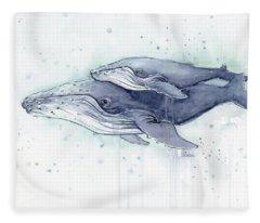 Humpback Whales Painting Watercolor - Grayish Version Fleece Blanket