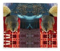 Hungry Squirrels Demanding Sunflower Seeds Fleece Blanket