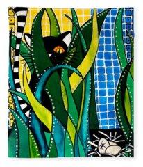 Hunter In Camouflage - Cat Art By Dora Hathazi Mendes Fleece Blanket