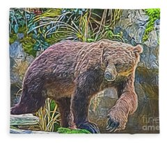 Hunting Bear Fleece Blanket