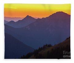 Hurricane Ridge Sunset Layers Fleece Blanket