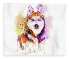 Husky Dog Watercolor Portrait Fleece Blanket