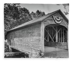 Hyde Hall Covered Bridge Fleece Blanket