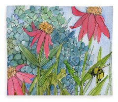 Hydrangea With Bee Fleece Blanket