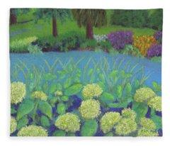 Hydrangeas At Willow Pond Fleece Blanket
