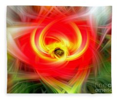 Hypnotic Red And Yellow Abstract Fleece Blanket