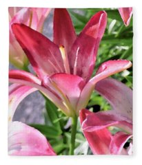 Exquisite Pink Lilies Fleece Blanket