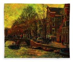 I Amsterdam. Vintage Amsterdam In Golden Light Fleece Blanket